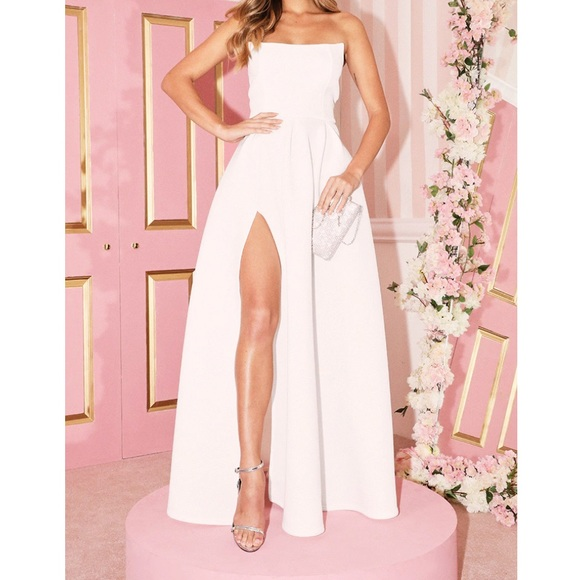 White Scuba Bandeau Maxi Dress